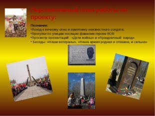 Перспективный план работы по проекту: Познание: Поход к вечному огню и памятн