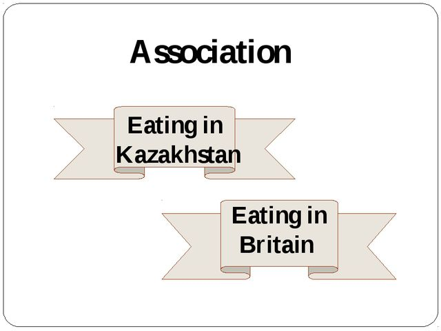 Association Eating in Britain Eating in Kazakhstan
