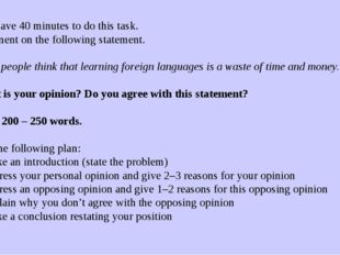 You have 40 minutes to do this task. Comment on the following statement.  So