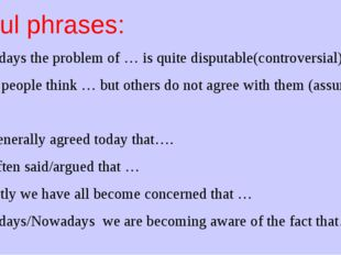 Useful phrases: 1. Nowadays the problem of … is quite disputable(controversia