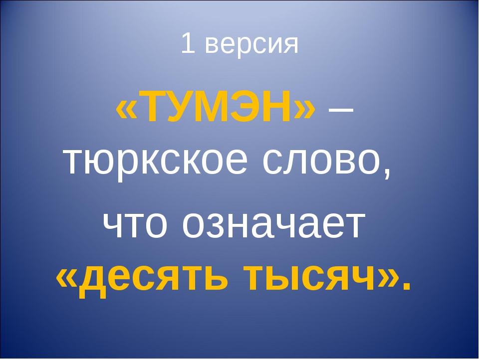 1 версия «ТУМЭН» – тюркское слово, что означает «десять тысяч».