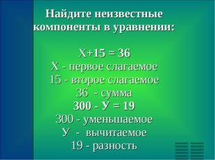 Найдите неизвестные компоненты в уравнении: Х+15 = 36 X - первое слагаемое 15