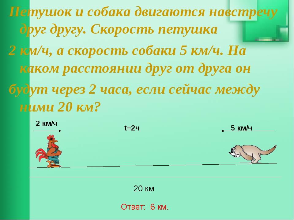 Петушок и собака двигаются навстречу друг другу. Скорость петушка 2 км/ч, а с...