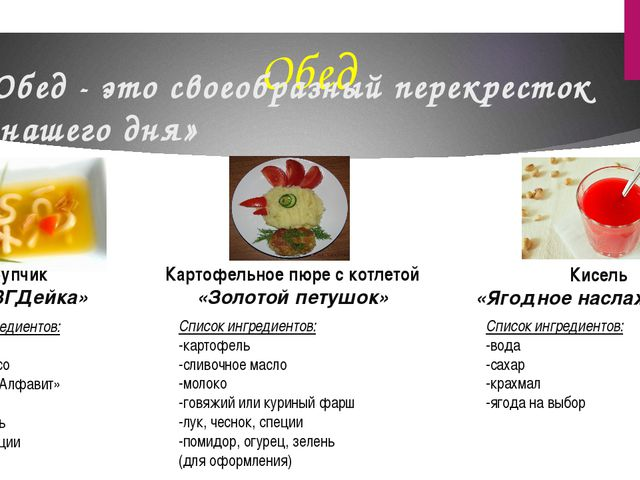 Обед «Обед - это своеобразный перекресток нашего дня» Супчик «АБВГДейка» Спис...