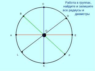 А В С D E F K L O Работа в группах, найдите и запишите все радиусы и диаметры