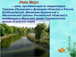 Река Миус Миу́с — река, протекающая по территории Украины (Луганская и Донецк