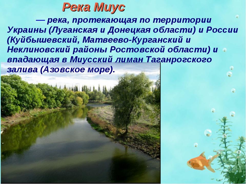 Река Миус Миу́с — река, протекающая по территории Украины (Луганская и Донецк...