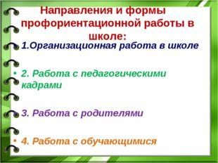 Направления и формы профориентационной работы в школе: 1.Организационная рабо