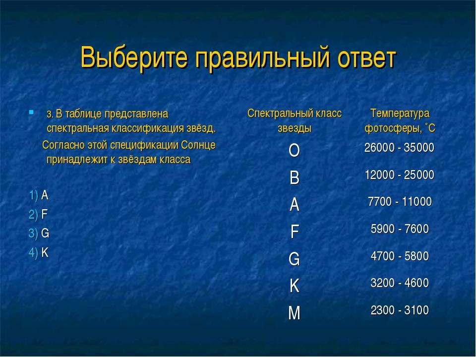 Выберите правильный ответ 3. В таблице представлена спектральная классификаци...