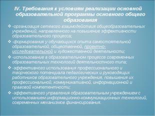 IV.Требования к условиям реализации основной образовательной программы основ