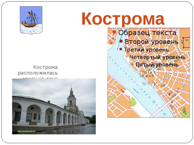 Кострома Кострома расположилась сразу на двух берегах реки Волги и реки Кост...