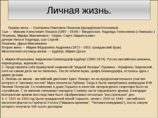 Личная жизнь. Первая жена — Екатерина Павловна Пешкова (урождённая Воложина)