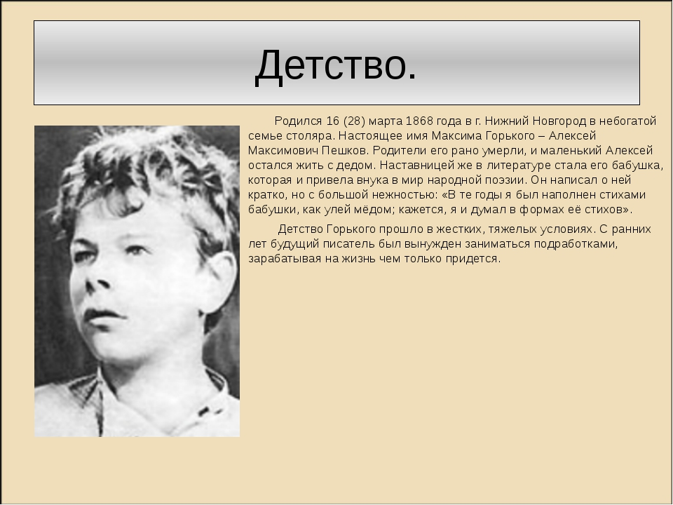 Детство. Родился 16 (28) марта 1868 года в г. Нижний Новгород в небогатой сем...