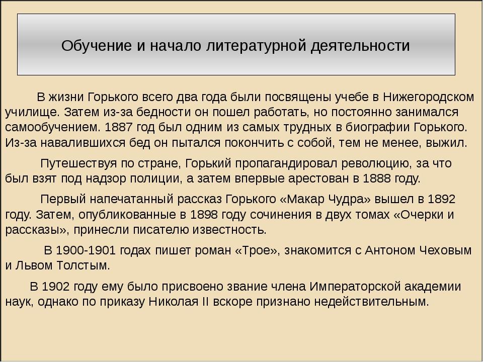 Обучение и начало литературной деятельности В жизни Горького всего два года...