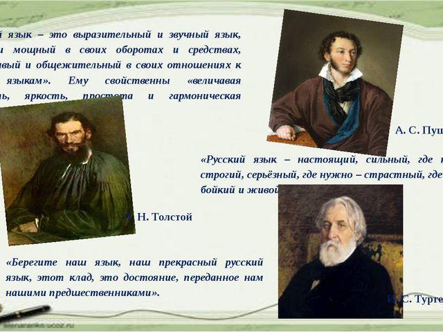 «Русский язык – это выразительный и звучный язык, гибкий и мощный в своих об...