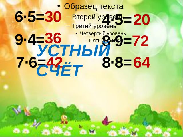 6·5= 9·4= 7·6= 30 36 42 4·5= 20 8·9= 72 8·8= 64 УСТНЫЙ СЧЁТ