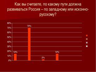 Как вы считаете, по какому пути должна развиваться Россия – по западному или