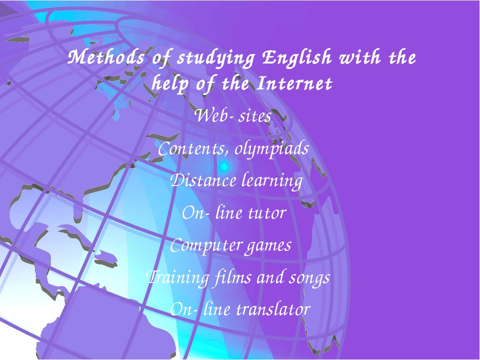 Methods of studying English with the help of the Internet Web- sites	 Content...