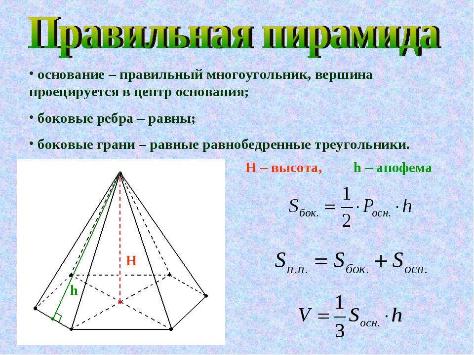 основание – правильный многоугольник, вершина проецируется в центр основания...