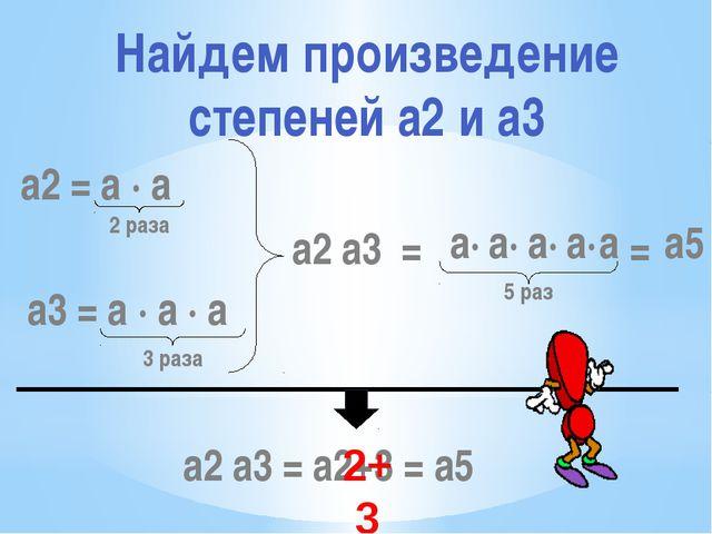 a2 = a · a 2 раза a3 = a · a · a 3 раза a2 a3 = 5 раз a2 a3 = a2+3 = a5 2+3 a...