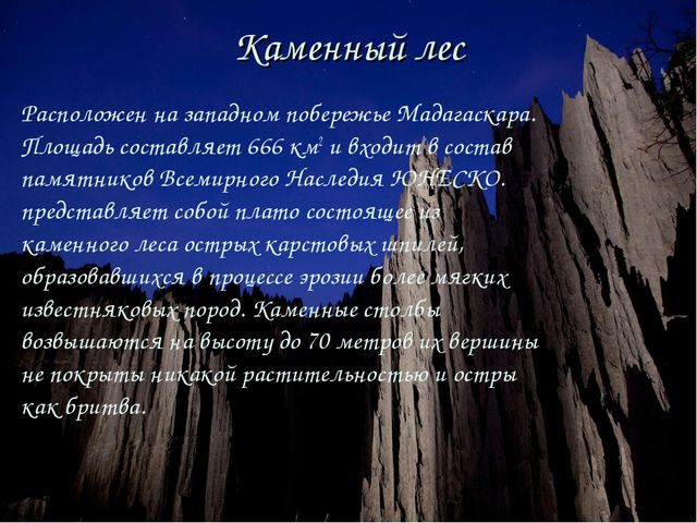 Каменный лес Расположен на западном побережье Мадагаскара. Площадь составляет...