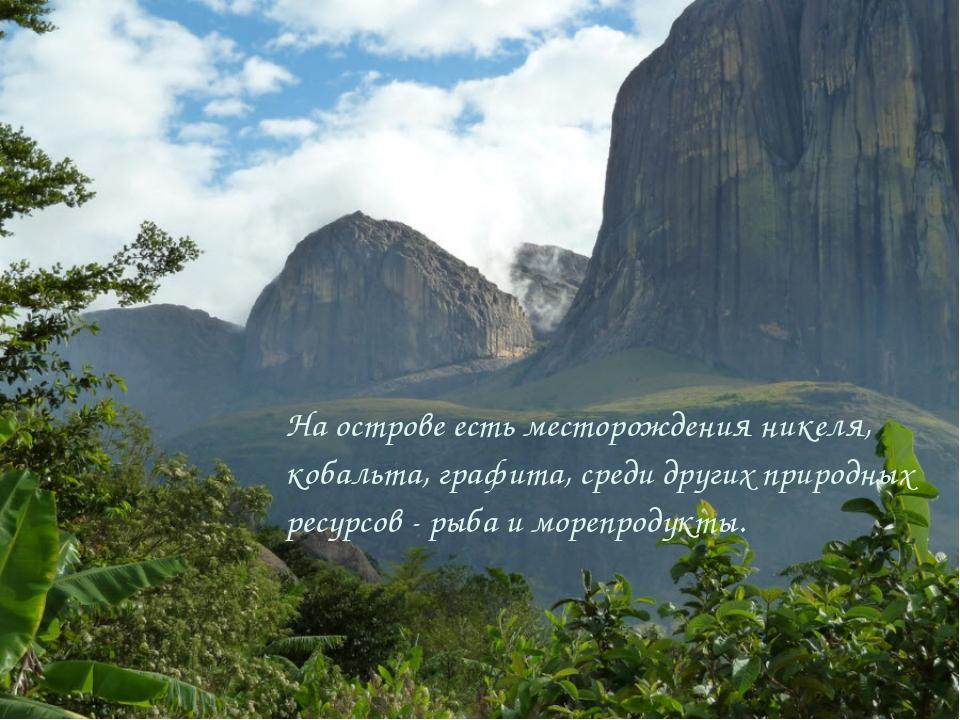 На острове есть месторождения никеля, кобальта, графита, среди других природн...