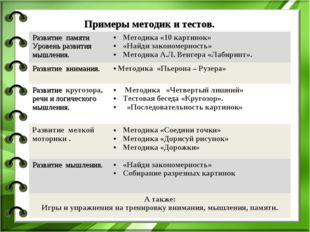 Примеры методик и тестов. Развитие памяти Уровень развития мышления.Методик