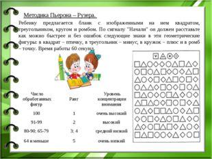 Методика Пьерона – Рузера.  Ребенку предлагается бланк с изображенными на не