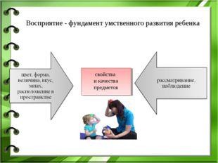 свойства и качества предметов Восприятие - фундамент умственного развития реб