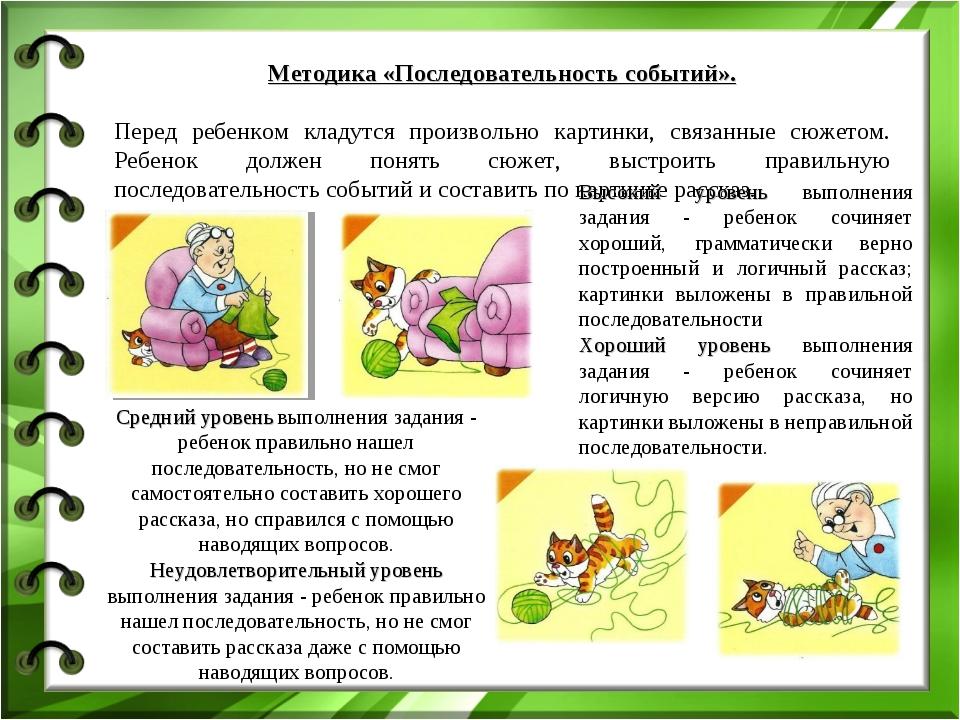 Методика «Последовательность событий». Перед ребенком кладутся произвольно ка...