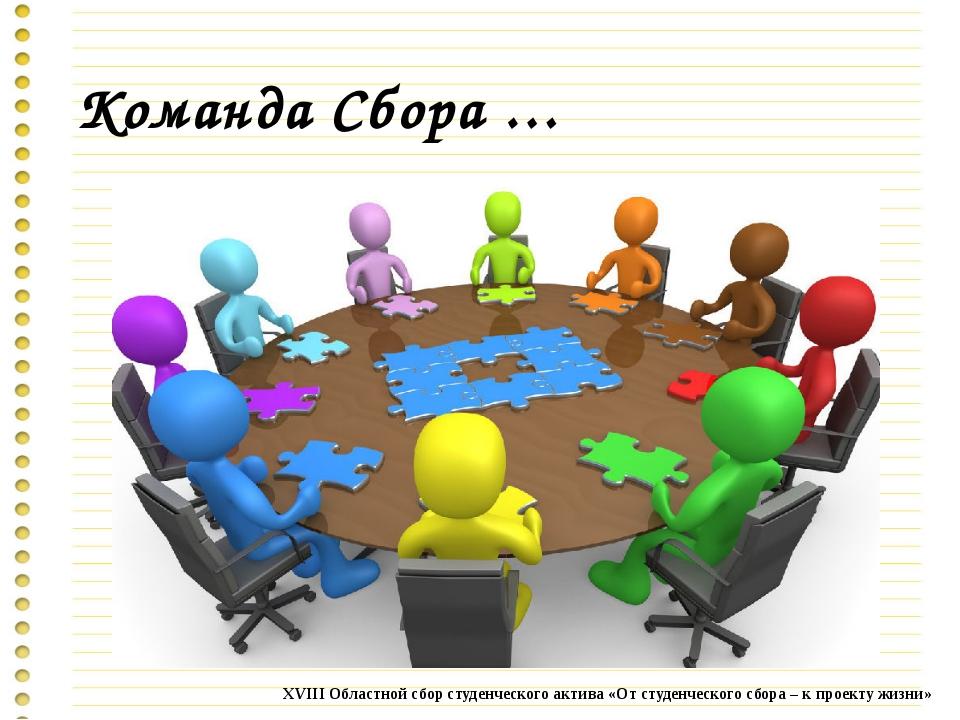 Команда Сбора … XVIII Областной сбор студенческого актива «От студенческого с...