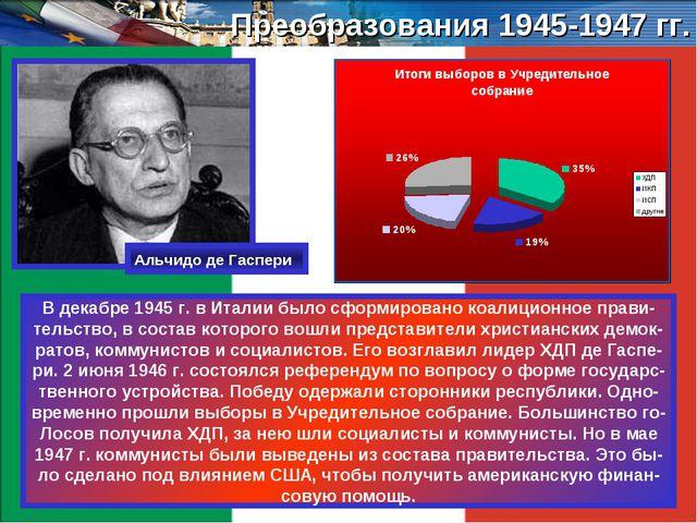 Преобразования 1945-1947 гг. В декабре 1945 г. в Италии было сформировано коа...