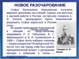Софья Васильевна Ковалевская получила мировое признание как учёный. Однако о