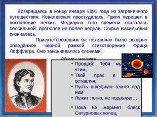 Возвращаясь в конце января 1891 года из заграничного путешествия, Ковалевска