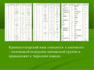 Крымскотатарский язык относится к кипчакско – половецкой подгруппе кипчакской