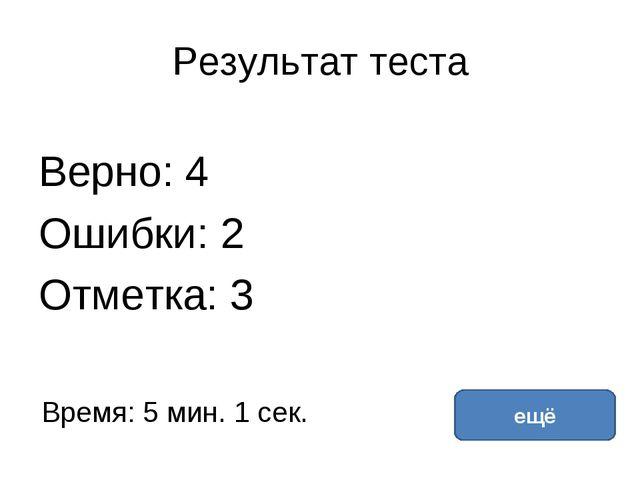Результат теста Верно: 4 Ошибки: 2 Отметка: 3 Время: 5 мин. 1 сек. ещё исправ...