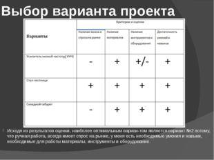 Выбор варианта проекта Исходя из результатов оценки, наиболее оптимальным вар