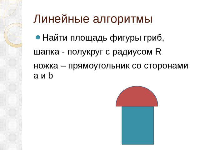 Линейные алгоритмы Найти площадь фигуры гриб, шапка - полукруг с радиусом R н...