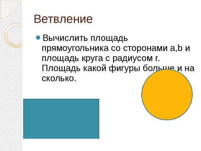 Ветвление Вычислить площадь прямоугольника со сторонами a,b и площадь круга с...