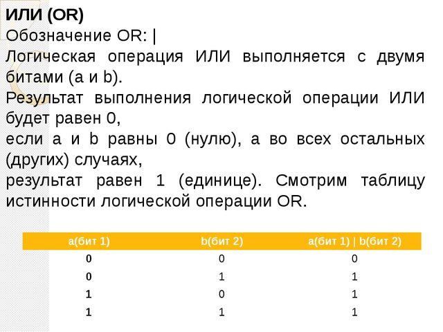 ИЛИ (OR) Обозначение OR: | Логическая операция ИЛИ выполняется с двумя битами...