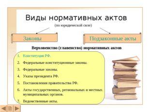 Виды нормативных актов (по юридической силе) Законы Подзаконные акты Верховен