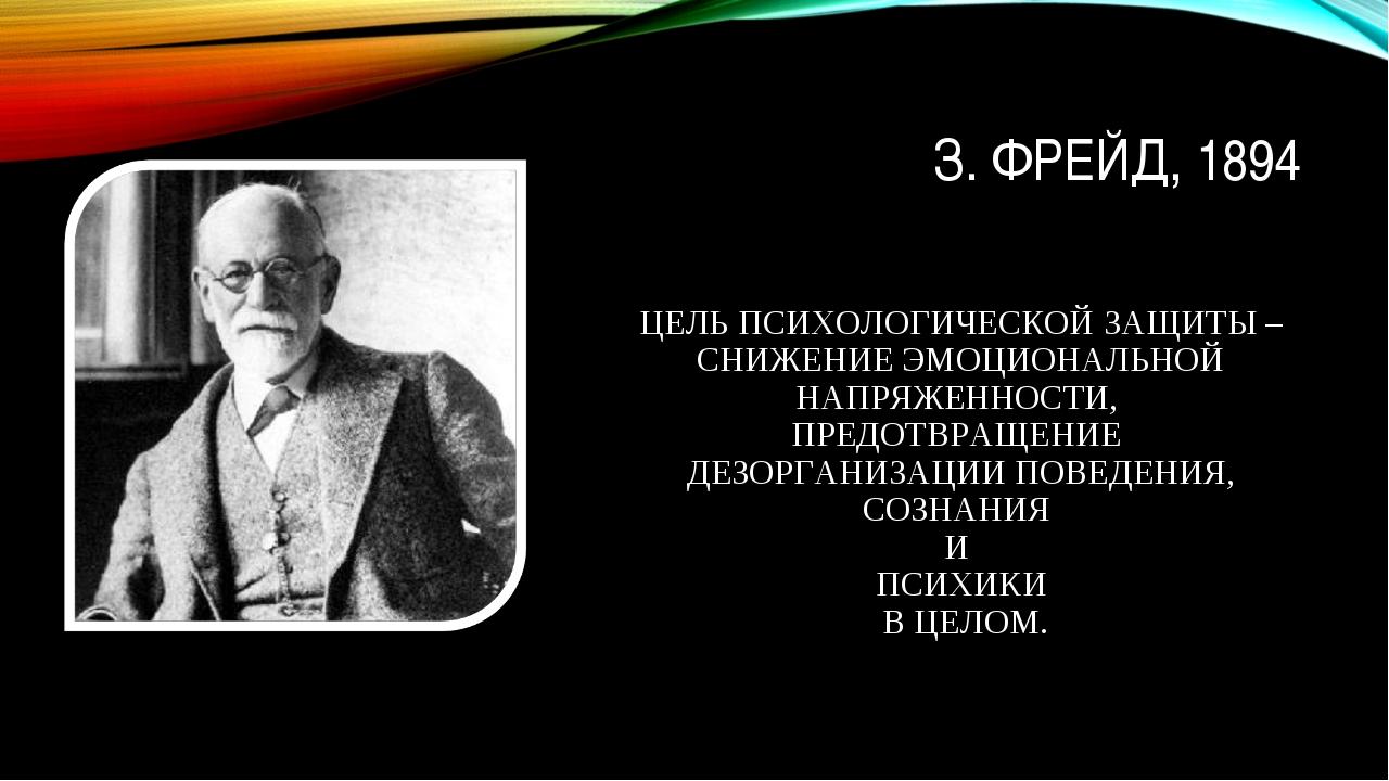 З. ФРЕЙД, 1894 ЦЕЛЬ ПСИХОЛОГИЧЕСКОЙ ЗАЩИТЫ – СНИЖЕНИЕ ЭМОЦИОНАЛЬНОЙ НАПРЯЖЕНН...
