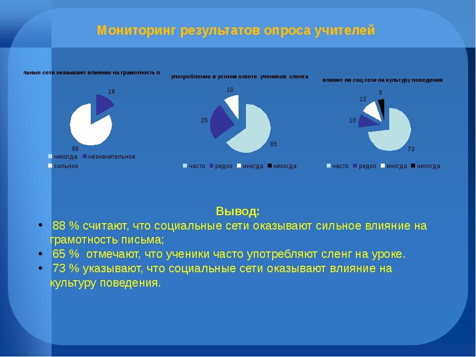 Мониторинг результатов опроса учителей Вывод: 88 % считают, что социальные се...