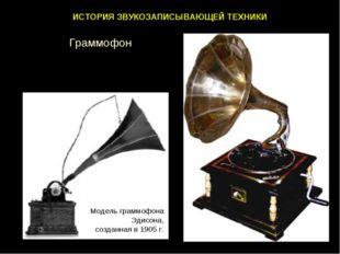 ИСТОРИЯ ЗВУКОЗАПИСЫВАЮЩЕЙ ТЕХНИКИ Модель граммофона Эдисона, созданная в 1905