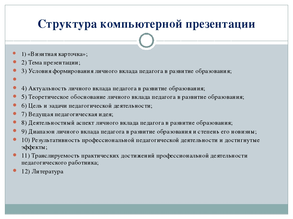Структура компьютерной презентации 1) «Визитная карточка»; 2) Тема презентаци...