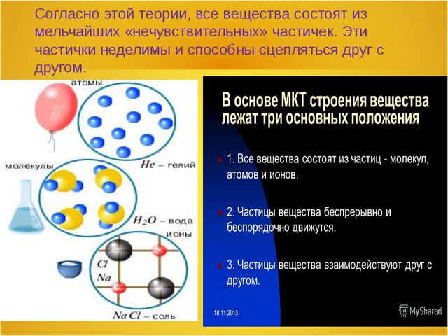 Согласно этой теории, все вещества состоят из мельчайших «нечувствительных» ч...
