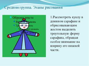 Средняя группа. Этапы рисования 1.Рассмотреть куклу в длинном сарафане и обри
