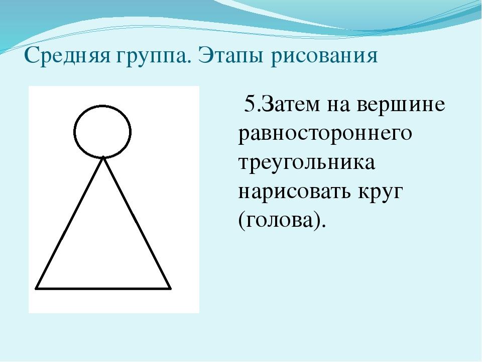 Средняя группа. Этапы рисования 5.Затем на вершине равностороннего треугольни...