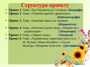 Структура проекту Проект 1. Тема: «Від Чаплинки до Соловків» (Біографи) Прое