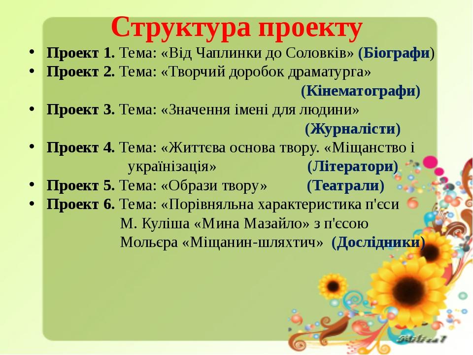 Структура проекту Проект 1. Тема: «Від Чаплинки до Соловків» (Біографи) Прое...